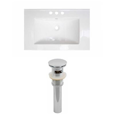 30 in. W x 18 in. D Ceramic Vanity Top Set with Basin in White and Drain