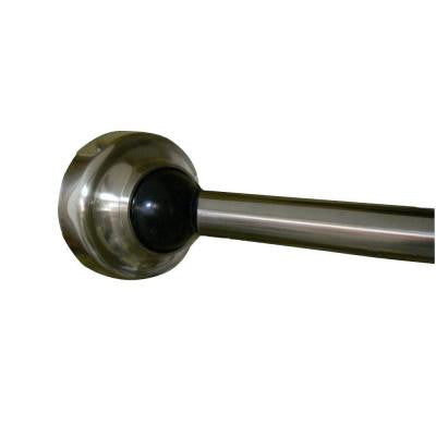 60 in. Stainless Steel Rotating Curved Shower Rod in Brushed Nickel with Cap and Black Accent
