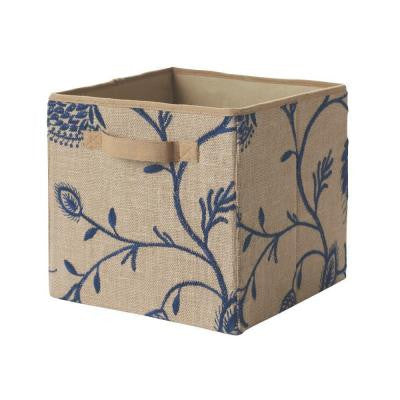 11 in. x 11 in. x 11 in. Navy/Natural Embroidered Fabric Storage Drawer