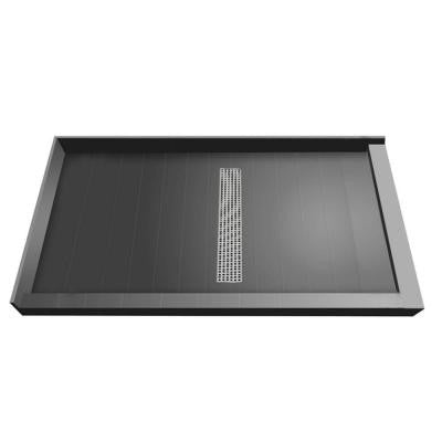 36 in. x 60 in. Double Threshold Shower Base with Center Drain and Brushed Nickel Trench Grate