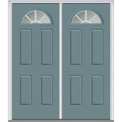 60 in. x 80 in. Classic Clear Glass GBG 1/4-Lite Painted Fiberglass Smooth Double Prehung Front Door