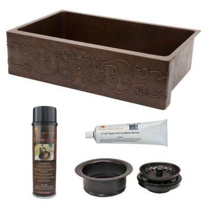 Undermount Hammered Copper 35 in. 0-Hole Single Bowl Kitchen Sink with Scroll Design and Drain in Oil Rubbed Bronze