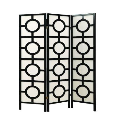52 in. W x 70.5 in. H Wooden Framed 3-Paneled Circle Design Folding Screen in Black