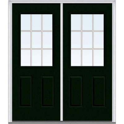 64 in. x 80 in. Classic Clear Glass GBG 1/2 Lite Painted Majestic Steel Double Prehung Front Door
