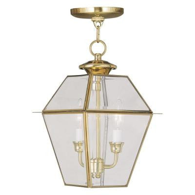 Providence 2-Light Hanging Outdoor Polished Brass Incandescent Lantern