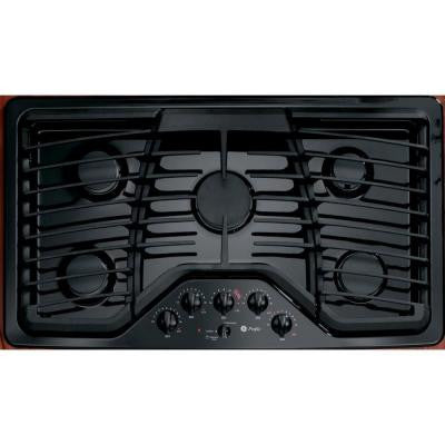 Profile 36 in. Gas Cooktop in Black with 5 Burners including Power Boil Burner