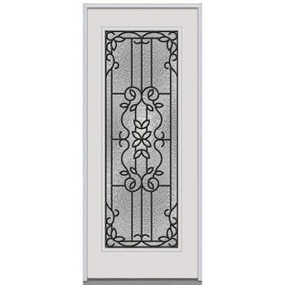 36 in. x 80 in. Mediterranean Decorative Glass Full Lite Primed White Steel Replacement Prehung Front Door
