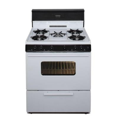 30 in. 3.91 cu. ft. Freestanding Gas Range with 5th Burner and Griddle Package in White