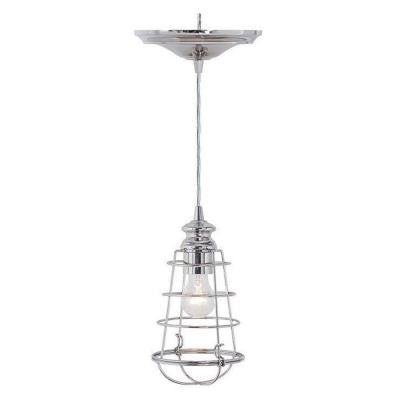 Cage 1-Light Brushed Nickel Pendant with Hardwire