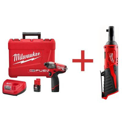 M12 FUEL 12-Volt Lithium-Ion Brushless Cordless 1/4 in. Hex Impact Driver Kit with M12 1/4 in. Ratchet (Tool Only)