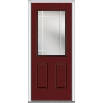 32 in. x 80 in. Classic Clear Glass PIM 1/2 Lite Painted Fiberglass Smooth Prehung Front Door