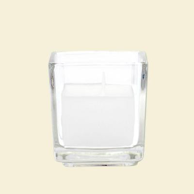 2 in. White Square Glass Votive Candles (12-Box)