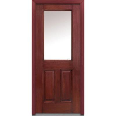 32 in. x 80 in. Classic Clear Glass 1/2 Lite 2-Panel Finished Mahogany Fiberglass Prehung Front Door