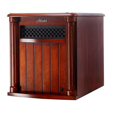 1500-Watt 6-Quartz Element Infrared Electric Wood Cabinet Heater with Remote Control