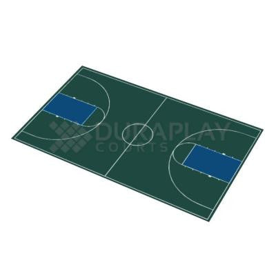 51 ft. x 83 ft. 11 in. Hunter Green and Navy Blue Full Court Basketball Kit