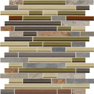 Slate Radiance Cactus 11-3/4 in. x 12-1/2 in. x 8 mm Glass and Stone Random Mosaic Blend Wall Tile