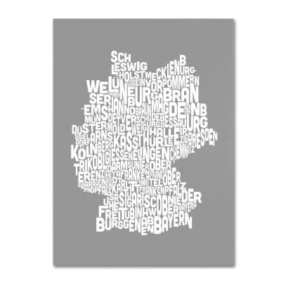 30 in. x 47 in. Germany Regions Map - Neutral Canvas Art