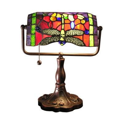 Warehouse of Tiffany Stella 12 in. Bronze Accent Desk Lamp with Red Dragonfly Shade