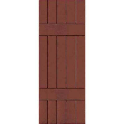 18 in. x 25 in. Exterior Real Wood Western Red Cedar Board & Batten Shutters Pair Country Redwood