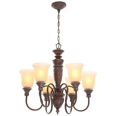 6-Light Bronze Chandelier