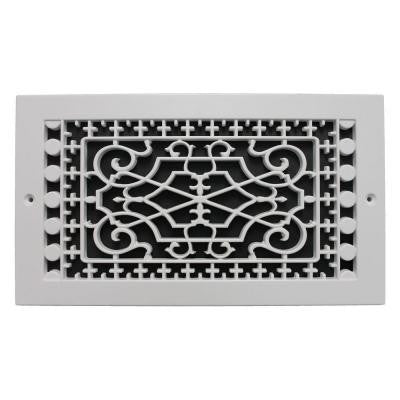 Victorian Base Board 6 in. x 12 in. Polymer Resin Decorative Cold Air Return Grille, White
