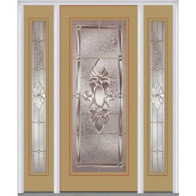 64 in. x 80 in. Heirloom Master Decorative Glass Full Lite Painted Majestic Steel Prehung Front Door with Sidelites