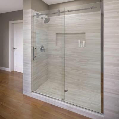 Vinesse Lux 59 in. x 76 in. Semi-Framed Sliding Shower Door and Fixed Panel in Chrome