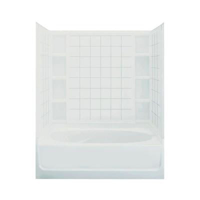 Ensemble 42 in. x 60 in. x 74-1/4 in. Standard Fit Bath and Shower Kit in White