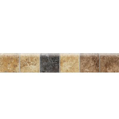 Heathland Sunset 2 in. x 12 in. Glazed Ceramic Mosaic Bullnose Floor and Wall Tile