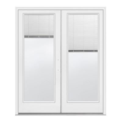 72 in. x 80 in. Primed White Left-Hand Inswing Low-E Tempered Tilt and Raise Mini-Blind Fiberglass French Patio Door