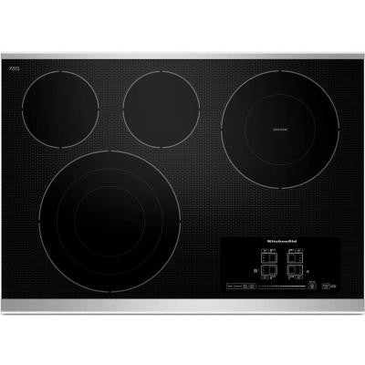 30 in. Ceramic Glass Electric Cooktop in Stainless Steel with 4 Elements including Tri-Ring and Double-Ring Elements