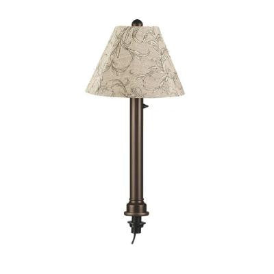 Catalina 28 in. Bronze Umbrella Outdoor Table Lamp with Natural Linen Shade