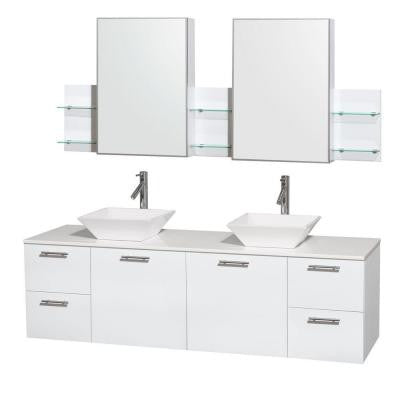 Amare 72 in. Double Vanity in Glossy White with Solid-Surface Vanity Top in White, Porcelain Sinks and Medicine Cabinet
