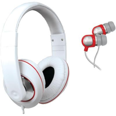 2-In-1 Sound Kit DJ-Style Headphone and Earbud - White