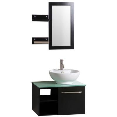 Palma 27.5 in. Vanity in Dark Wenge with Vitreous China Vanity Top in White and Mirror