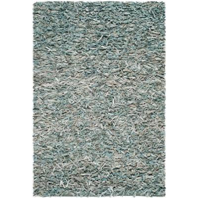 Leather Shag Light Blue 6 ft. x 9 ft. Area Rug