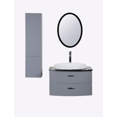 Adora 30 in. W x 21 in. D Vanity in Gray with Tempered Glass Vanity Top in Black with White Basin and Mirror