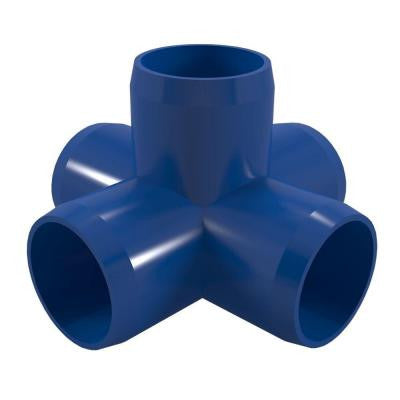 1-1/4 in. Furniture Grade PVC 5-Way Cross in Blue (4-Pack)