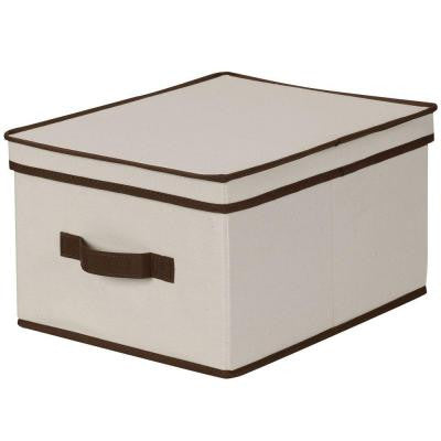 12 in. x 15 in. Natural Canvas with Brown Trim Large Storage Box
