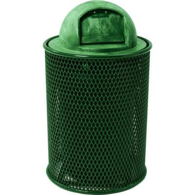 32 Gal. Green Park Trash Can with Dome Lid