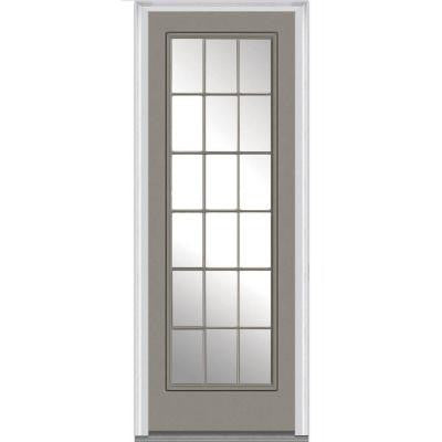 36 in. x 96 in. Class Clear Glass Full Lite Painted Fiberglass Smooth Prehung Front Door