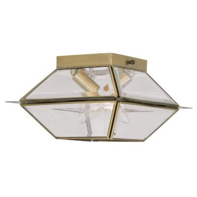 Providence 1-Light Antique Brass Outdoor Flush Mount