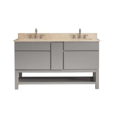 Tribeca 60 in. Vanity in Chilled Gray with Marble Vanity Top in Gala Beige