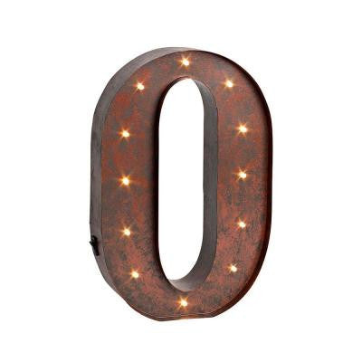 "12 in. H ""O"" Rustic Brown Metal LED Lighted Letter"