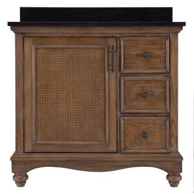 Bralon 37 in. Vanity in Whitewashed Oak with Granite Vanity Top in Black