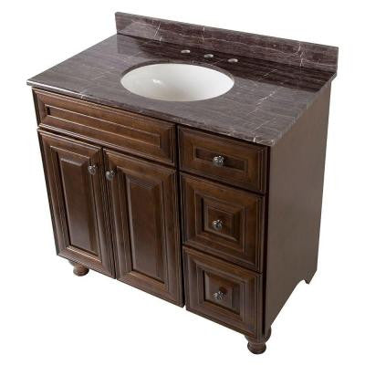 Templin 37 in. Vanity in Coffee with Stone Effects Vanity Top in Coffee