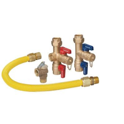 Tankless Water Heater Kit with 3/4 in. IPS Service Valves, 18 in. Gas Connector (290,900 BTU) and PR Valve
