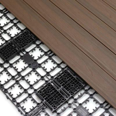 4.32 sq. ft. Deck-A-Floor Premium Modular Composite Outdoor Flooring System Kit in Spanish Walnut