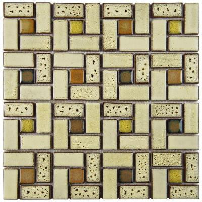 Essence Spiral Sierra 12 in. x 12 in. x 9 mm Porcelain Mosaic Tile