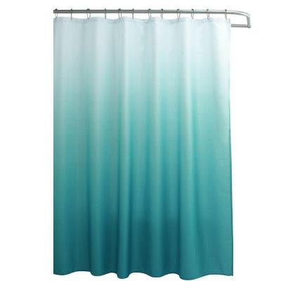 Ombre Waffle Weave 70 in. W x 72 in. L Shower Curtain with Metal Roller Rings in Turquoise